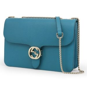GUCCI LEATHER BLUE CROSSBODY BAG, NEW